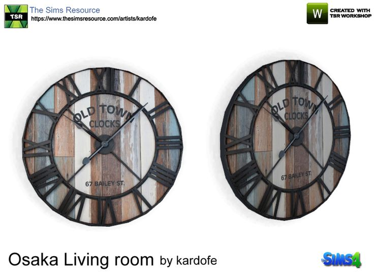 Industrial style wall clock in wood and metal  Found in TSR Category 'Sims 4 Paintings & Posters'