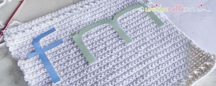 2 Facili sistemi per riportare delle lettere o un disegno da ricamare su un lavoro a maglia o all'uncinetto.