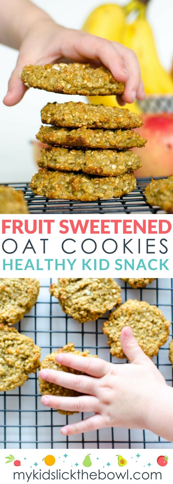 Fruit sweetened cookies, an easy healthy recipe, made with banana, applesauce and oatmeal,  kid-friendly, wheat free nut free and dairy free