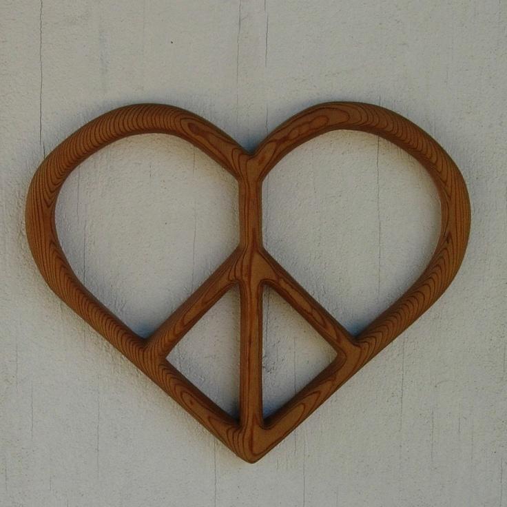 Peace and Love - Heart shaped Peace Sign. $48.00, via Etsy.