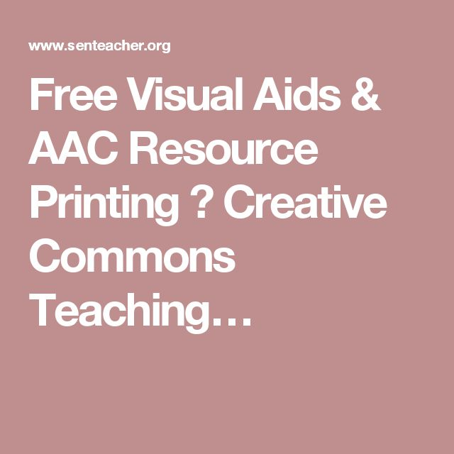 Free Visual Aids & AAC Resource Printing ⋆ Creative Commons Teaching…