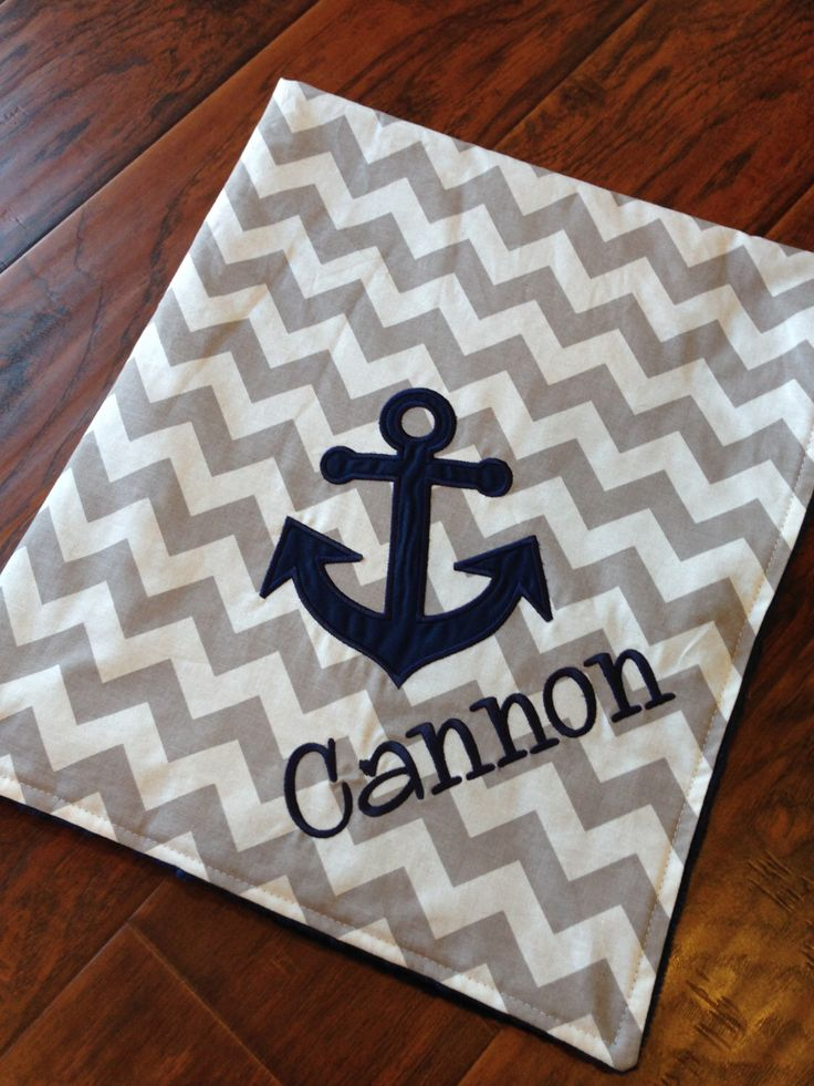 Personalized Baby Blanket- Anchor Baby Blanket-  Minky Baby Blanket- Chevron Minky Blanket- Applique Baby Blanket- by FunnyFarmCreations on Etsy https://www.etsy.com/listing/118103414/personalized-baby-blanket-anchor-baby