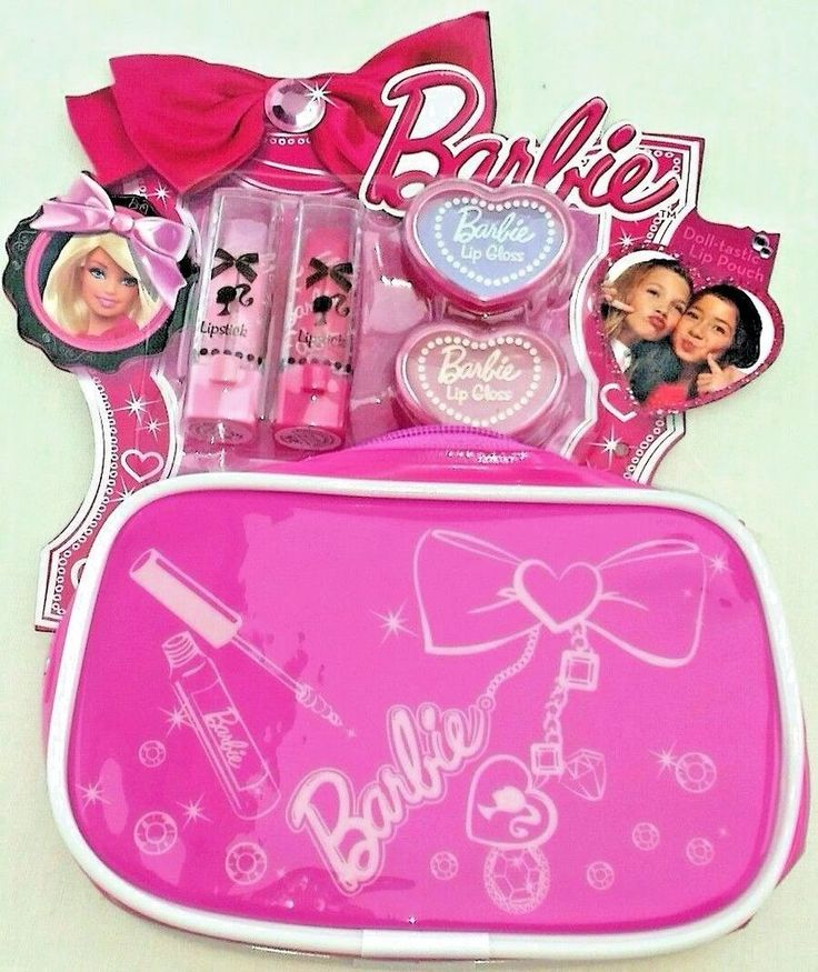 barbie lipstick lip gloss bag set new
