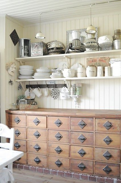 would love a buffet counter like this!  and love the idea of hanging mugs from a small coat rack. #pinadream
