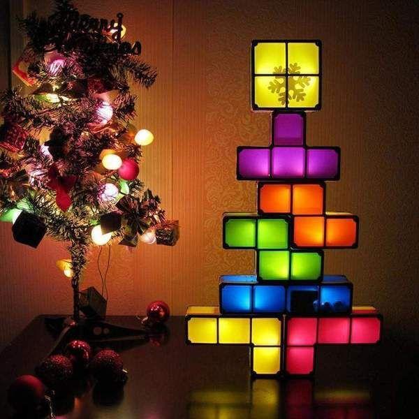 Lampe de table Tetris Light LED lampe de table r/étro Tetris Lampe Briques Tetris Lampe