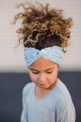 Cute girls curly hairstyle ideas. Turban headbands are an easy up Do! Girl's Lace Headband in Gray by Featherweights | Kids' Fresh Fashion.