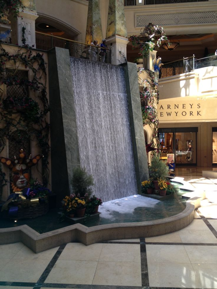 indoor waterfall at the hotel