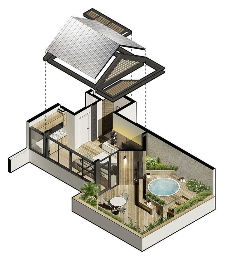 Diseño de una hermosa terraza construida en la azotea de un edificio, se ha utilizado predominantemente madera como material de construcción tanto en la zona cubierta como la exterior; elementos co…