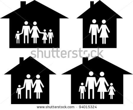 Silhouette family icon and house. Conceptual vector illustration by Kalenik Hanna, via ShutterStock