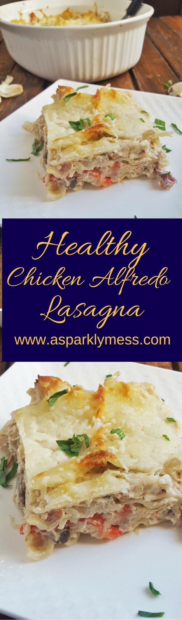 This easy Healthy Chicken Alfredo Lasagna recipe is lightened up with a healthier version of Alfredo sauce. It's just as delicious, creamy and flavorful, and a little bacon just makes everything better.