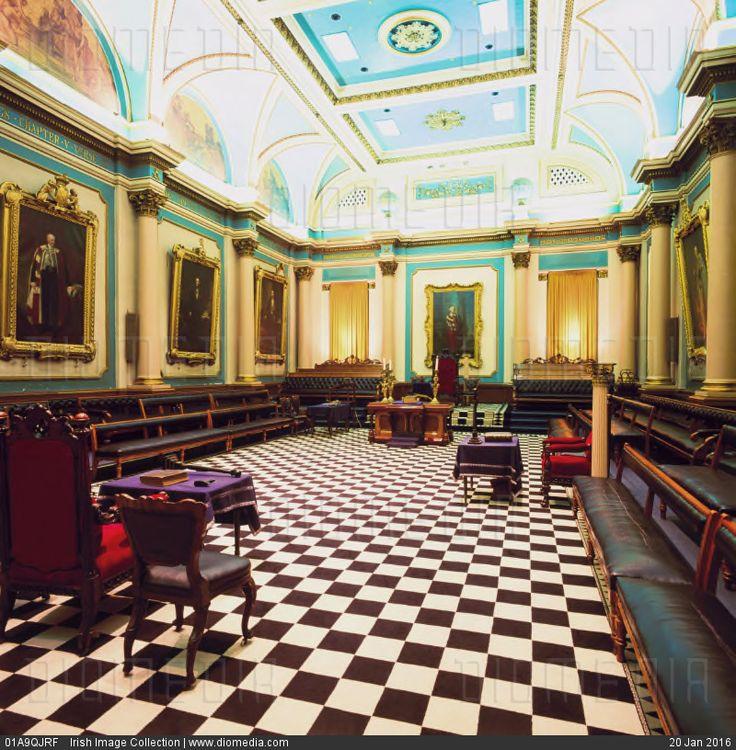 STOCK IMAGE - Grand Lodge Room, Freemasons Hall, Dublin, Ireland; Interior of Irish Masonic lodge by www.DIOMEDIA.com
