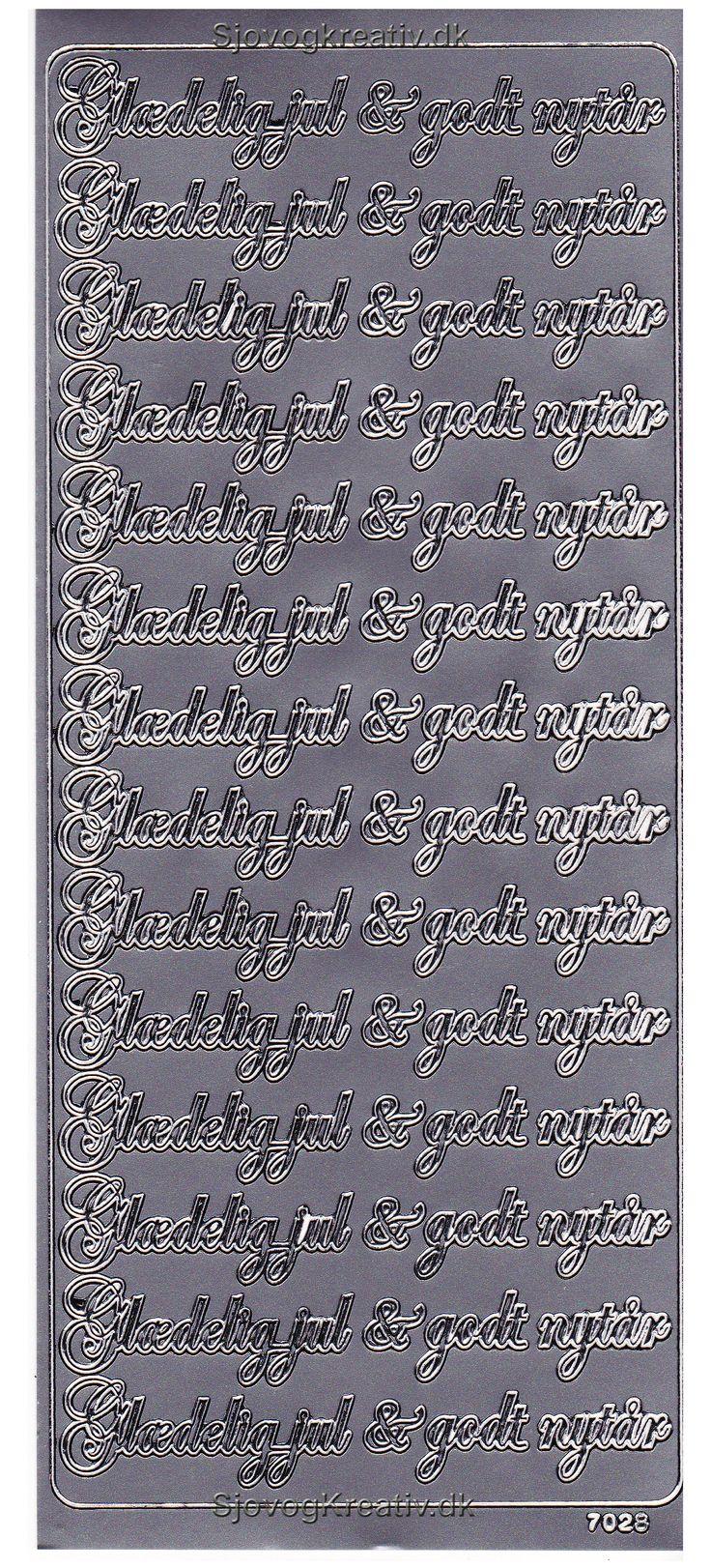 Stickers ark i sølv farve med Glædelig Jul og Godt Nytår fra sjovogkreativ.dk