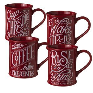 Grasslands Road 4-Pack Christmas Morning Ceramic Mugs, 16-Ounce, Red Each mug has a diff rent saying:  Rise and Shine. Wake Up Its Christmas.  Coffee before presents. Cup Of Christmas Coffee http://theceramicchefknives.com/ceramic-tea-pots-christmas-theme-tea-pots/