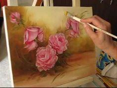 Pintando Rosas - Parte 4 - Óleo sobre tela por Shirley Sbeghen