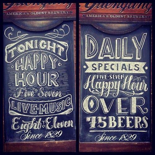 typeverything.com,seaarezea: Happy Hour, Chalkboards Letters, Chalkboards Design, Chalk Menu, Hands Letters, Chalk Boards, Chalk Typography, Chalkboards Typography, Bar Signs