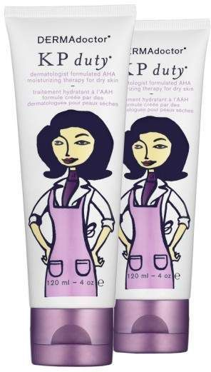 DERMAdoctor(R) 'KP Double duty(R)' Dermatologist Formulated AHA Moisturizing Therapy for Dry Skin Duo AD-KP duty is an AHA moisturizing therapy for dry skin that contains a patented blend of glycolic acid, green tea extra and urea to help exfoliate, calm and hydrate skin. It helps to improve the appearance of parched skin and rough chicken skin bumps, leaving your skin feeling softer, smoother and more hydrated