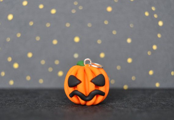 Pumpkin Polymer Clay Charm Optional Necklace by CharmsbyCat