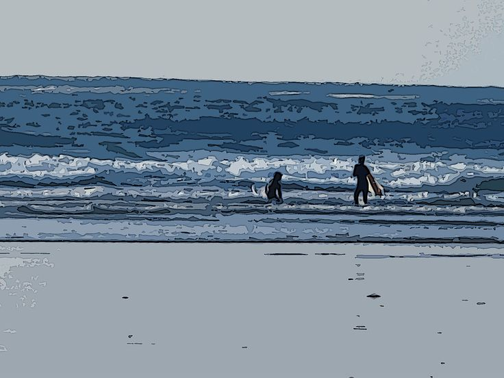 Cold water surfers, Long Beach, BC