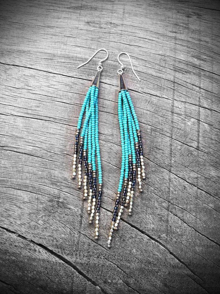 Beaded Fringe Earrings, Seed Bead Earrings, Native American Inspired,