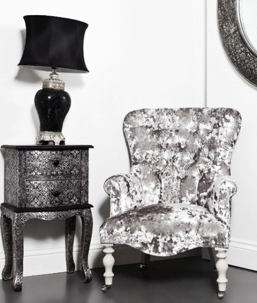 This vintage style deep button back light grey crushed velvet armchair is a gorgeous traditional antique style deep button back armchair is beautifully upholstered and handmade in the UK.