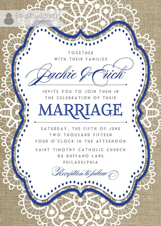 lace burlap wedding invitation shabby chic navy blue rustic barn style invites by digibuddhapaperie 2800 - Burlap Wedding Invitations