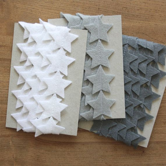 Felt Garland - Christmas Star - White Gray Black #christmas #garland #nursery