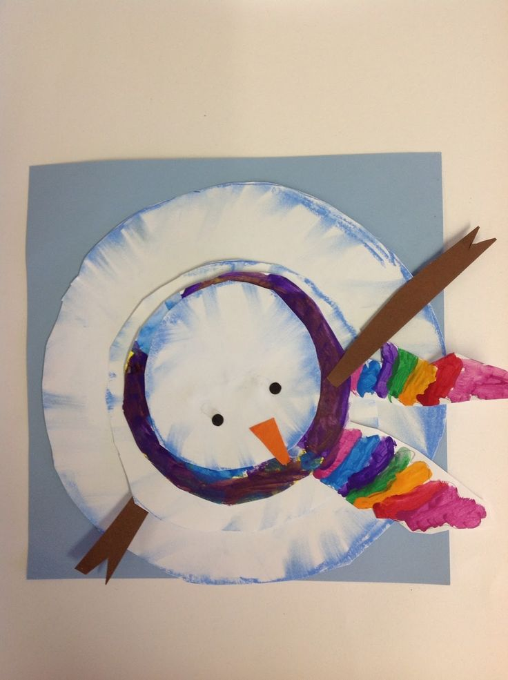 Perspective Snowmen   Color It Like You Mean It. Unfortunately, there are no directions on how to do this but there is a similar craft from Tiny Art Room (Aerial View Snowmen) with directions. https://tinyartroom.wordpress.com/2012/10/27/aerial-view-snowmen/