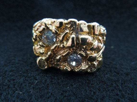 Vintage Costume Ring, Men's, Gold Tone with Rhinestones, Different Sizes Available  Ask a Question $10.00 USD