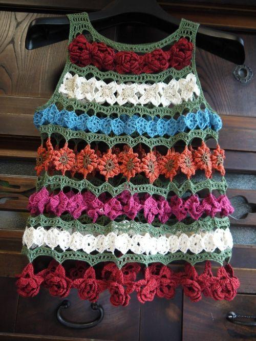 crochet flower motif tunic