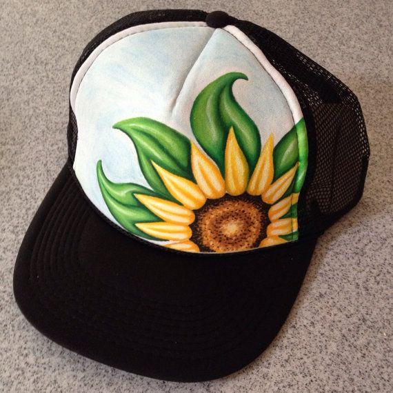 Handpainted Sunflower Trucker Hat by JulesJewelsJewelry on Etsy