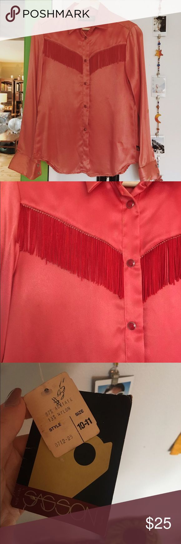 Vintage fringe blouse Bright red fierce af vintage button down, brand new vintage Tops Button Down Shirts