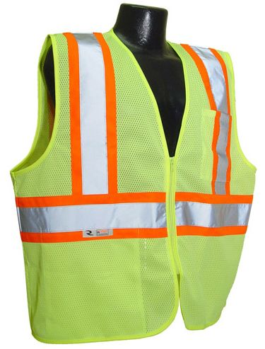 """ANSI 107 Compliant FR protection at an economical price. Excellent choice for extreme work environments like petro-chem, asphalt paving, short-term labor, and welding where a Non-durable FR* level of protection is sufficient. Reflective stripes on contrasting trim make workers much more noticeable in low light and broad daylight. Features: Closure: Zipper 2"""" silver tape reflective material. 1 horizontal stripe. Pockets: 1 Upper Left Front, 1 Lower Right Inside Contrasting Trim ..."""