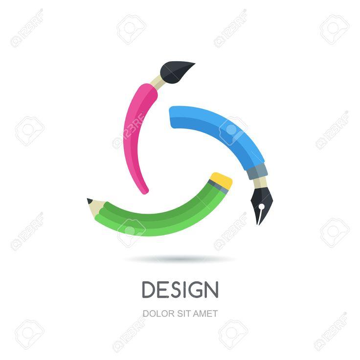 Vektör Yaratıcı Logo Tasarım şablonu Döngüye. Kalem, Kalem Ve Fırça, Sonsuzluk Düz Simge Renkli Sembol. Iş, Tasarım, Grafik, çizim, Kırtasiye, Okul Ve Eğitim Için Soyut Bir Kavramdır. Royalty Free Klipartlar, Vektör Çizimler Ve Stok Çizim. Image 44239213.