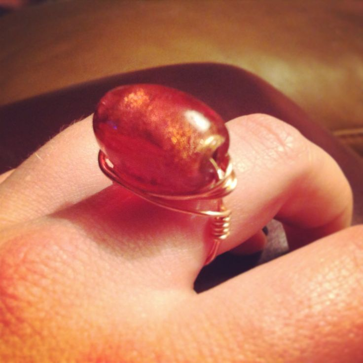 Amber and Copper Wrapped Ring