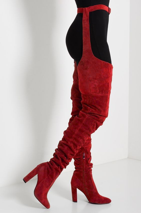 4b8b60cdbac2 Side View  preorder  Expected Ship Date 12 12 - Harmony Loop Around Thigh  High Faux Suede Boots in Red