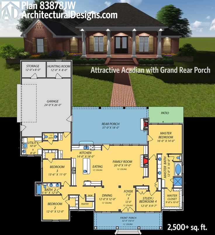 Architectural Designs Acadian House Plan 83878JW has an 8'-deep porch in front and an 18'-deep porch in back. That one has a fireplace, making that space function as an outdoor living room. Just over 2,500 square feet of living. Ready when you are. Where do YOU want to build?
