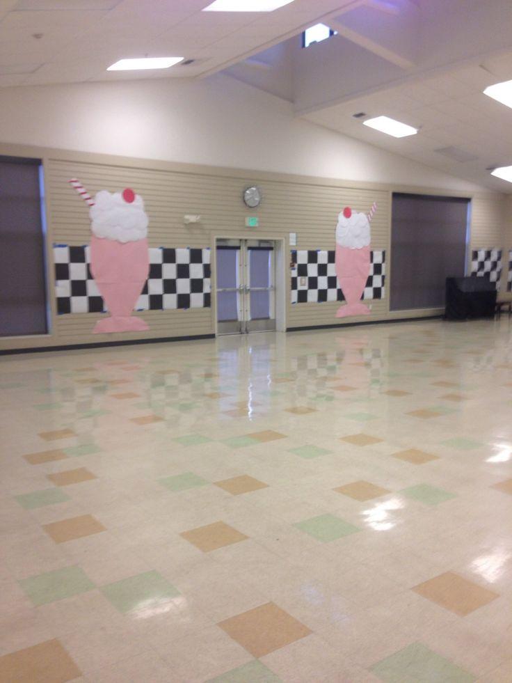 — 50's Sock Hop Decorations, paper milkshakes for sock hop dance. Redwood Shores Elementary Dinner Dance 2014.