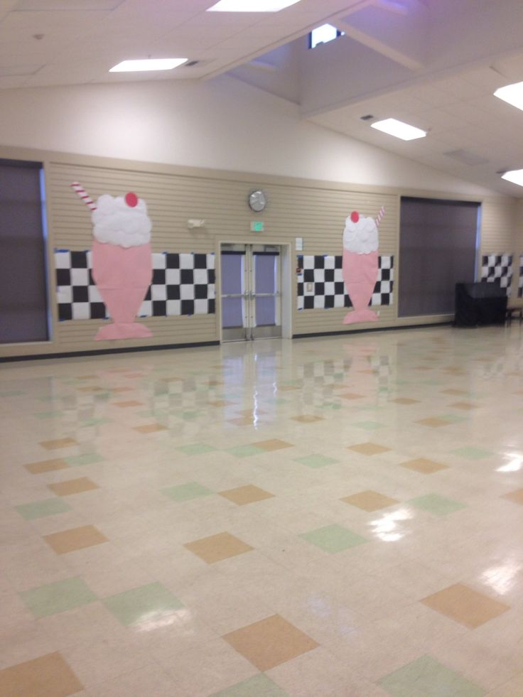 — 50's Sock Hop Decorations, paper milkshakes for sock hop dance. Redwood Shores Elementary Dinner Dance 2014.