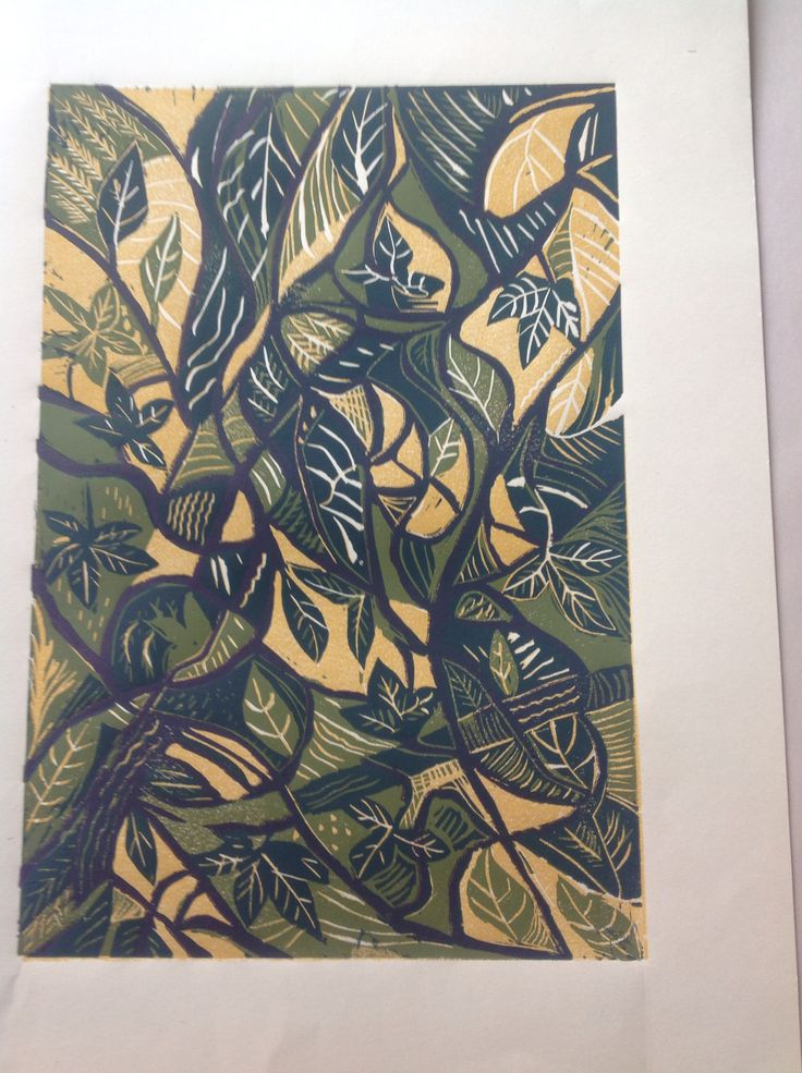 4 colour reduction linocut