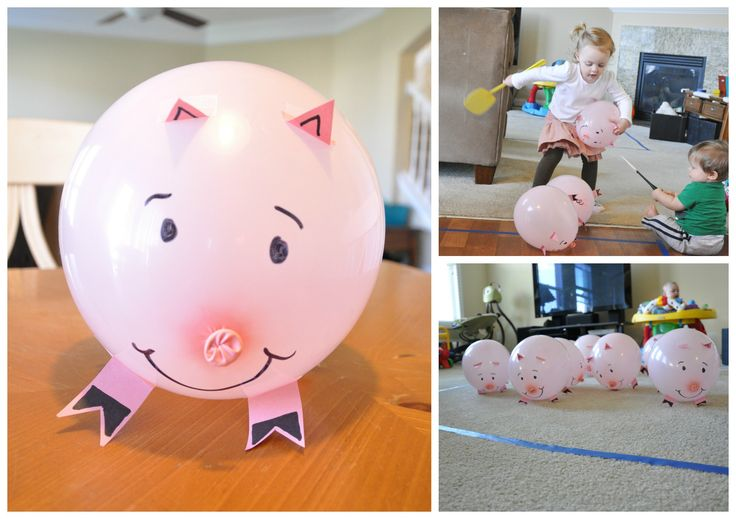 "corral the pig game-- you could do this with white balloons for ""Corral the cows"" for a more ""cowboy"" theme!"