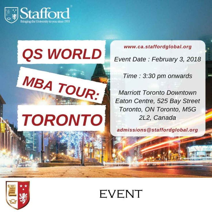 Are you living in Toronto and would like to earn a degree in MBA or MSc in Finance from a top-ranked UK institution without taking a career break? We have the answer for you! Meet up with us at the QS World MBA tour and we can discuss the details of the course. http://blog.staffordglobal.org/events/qs-world-mba-tour-toronto _______________________________  Event Date : 3 February 2018 Time : 3:30 pm onwards Venue : Marriott Toronto Downtown Eaton Centre, 525 Bay Street Toronto, ON Toronto…
