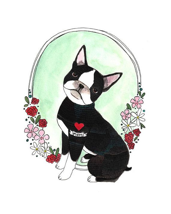 Boston Terrier // Art Print 8x10 // Boston Mom by michelemaule, $20.00