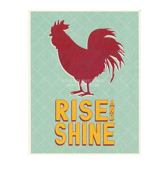 SALE  8x10 Rise and Shine Red Rooster Retro by grassgreendesign, $8.00