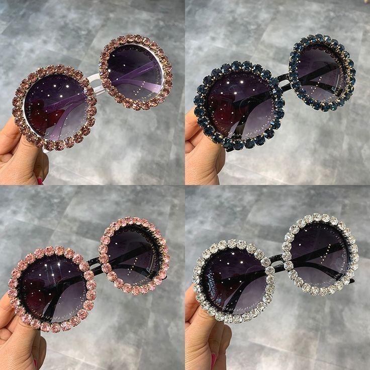 Mode Luxus Runde Sonnenbrille Frauen Vintage Übergroßen Strass Sonnenbrille M…