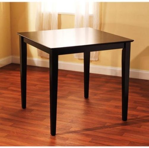 Dining Table Counter Height Black Simple Lines Durable Rubber Wood Construction #Generic