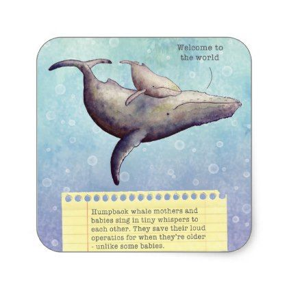 Adorable mother and baby whale. New baby card. Square Sticker - baby gifts giftidea diy unique cute