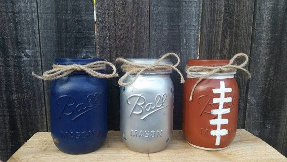 Distressed Mason Jars, Dallas Cowboys Decor