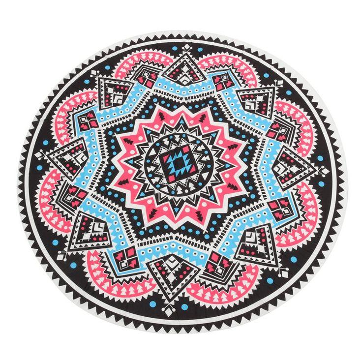 145cm Charming Beautiful Chiffon Printed Round Stripe Printing Mandala Tapestry Beach Towel Rug Blanket Yoga Mat