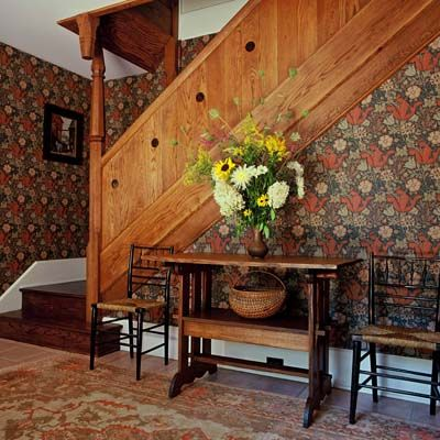 Stairs inspired by William Morris's Red House - William Morris 'Compton' wallpaper - Sandra Vitzthum Architect - Cottage on Lake Michigan