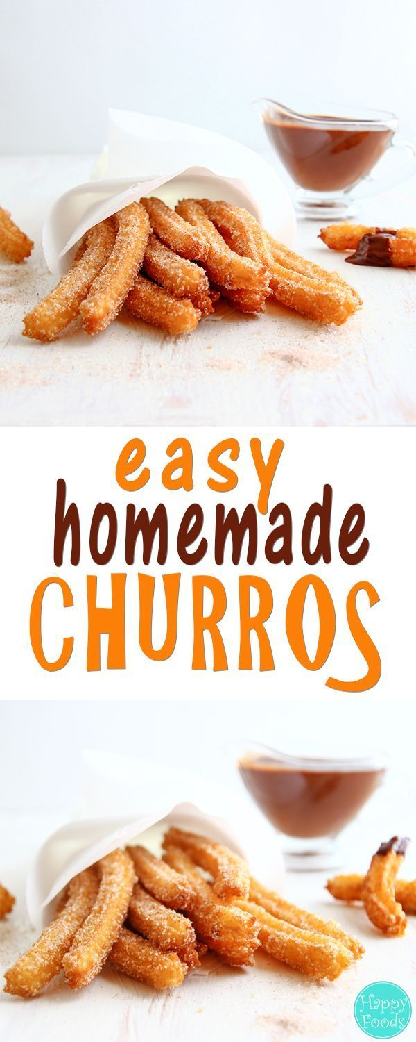 Easy Homemade Churros - Traditional Spanish dessert recipe. They are best served with a cup of really thick chocolate. Yummy ♡   http://happyfoodstube.com